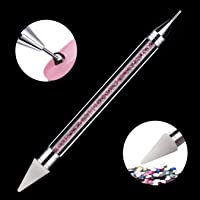 Makartt Dual -ended Nail Rhinestone Picker Beads Picker Dotting Pen Wax Pen With acrylic Handle Manicure Nail Art Tool-Pink