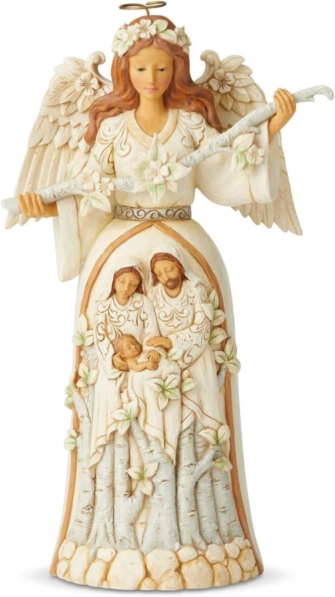 Enesco Jim Shore Heartwood Creek White Woodland Nativity Angel Figurine, 9.84 Inch, Multicolor