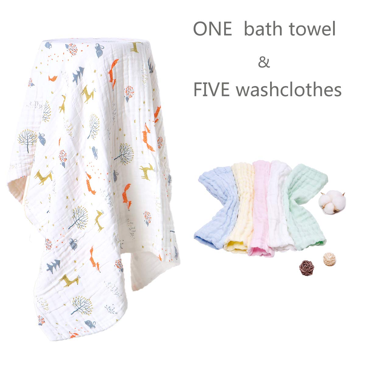 Muslin Baby Towel Washcloths Set-1 Large Infant Towels 43.3''x43.3'' &5 Washcloths Face Towel 11''x11'' 6 Layers Cotton Gauze Extra Soft, 6 Pack (Forest) by AIMIUKIDS