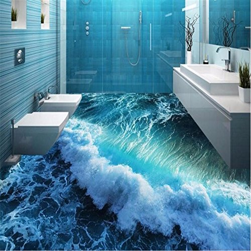 LWCX Custom Personalized 3D Wave Painting Floor Stickers Home Decoration Ground 3D Wallpaper Papier Peint 3D Wallpaper 150x120CM