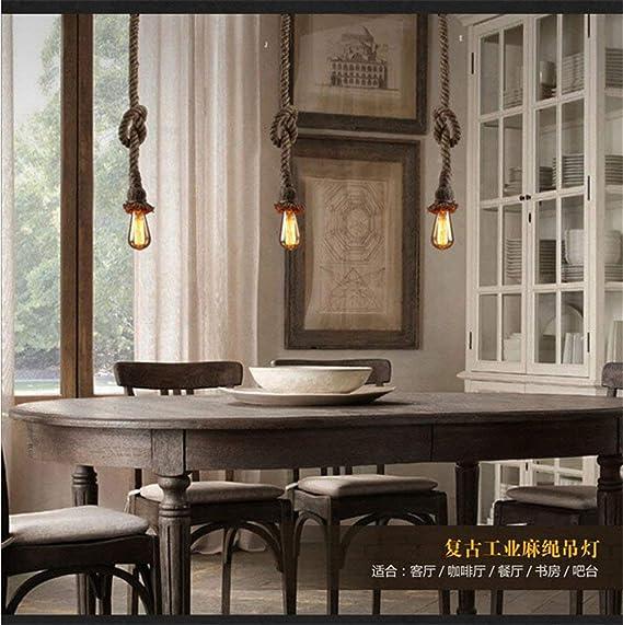 Eeayyygch Industrial Vintage Tejido a Mano Creativo Hierro Café Restaurante Bar Estufa Prenda Tienda Terraza Individual Lino Solo Cabeza Araña (Color : - ...