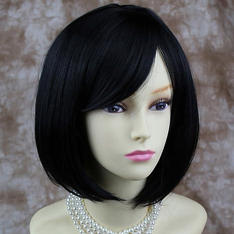 Pretty corto Bob peluca Negro suave Natural Pelucas De Mujer Reino Unido