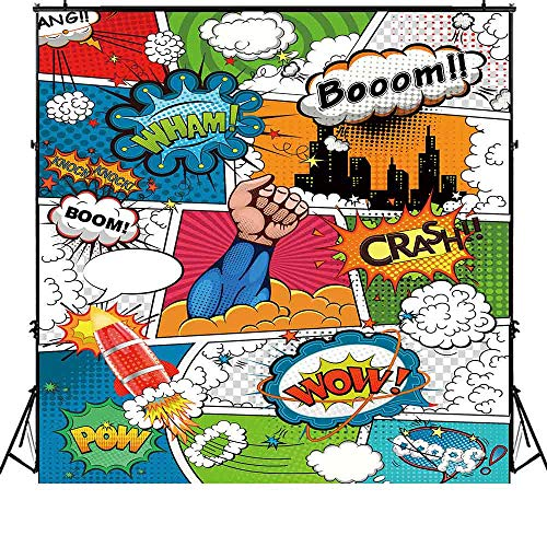Funnytree 6x6ft Superhero Theme Party Backdrop Cartoon City Boy Baby Shower Birthday Photography Background Super Hero Cityscape Humor Abstract Banner Cake Table Decoration Photo Booth Props -