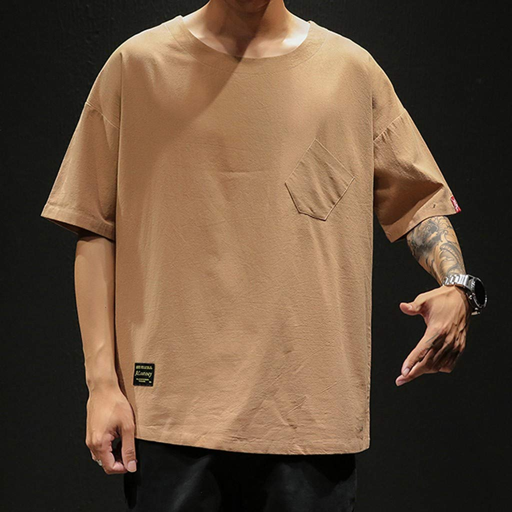 BBesty Mens Summer Fashion Linen Short Sleeve Solid Color Crew Neck Loose Casual T Shirt Blouse Big Sale