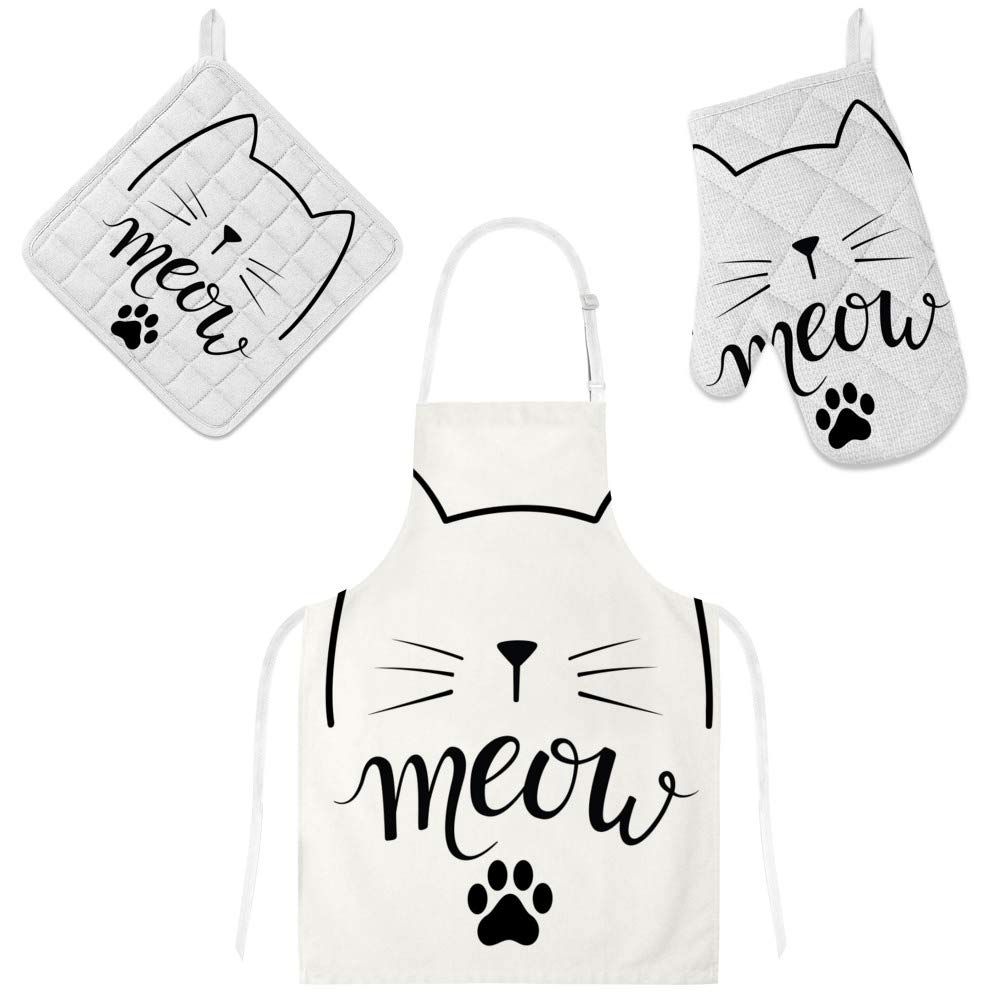 Kuizee 3 Pcs Apron Set Black Cat Meow Microwave Oven Glove Insulation Pads Apron Oven Mitts