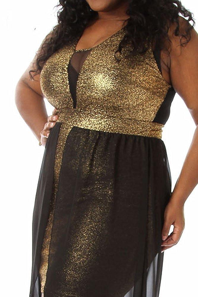Amazon.com  8514 - Plus Size Black Mesh Chiffon Hi Low Layered Cocktail  Metallic Gold Dress  Clothing 1b0cb758e