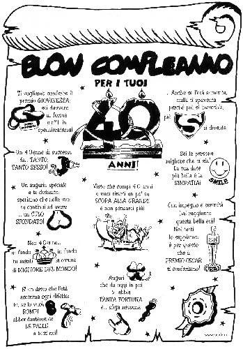 Pergamena Buon Compleanno Per I Tuoi 40 Anni Scherzo Scherzetto