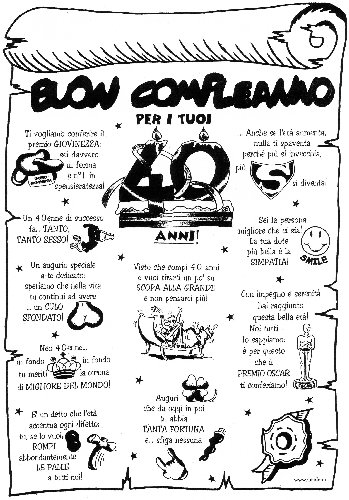 """Super Pergamena Buon Compleanno """"per i tuoi 40 anni"""" Scherzo scherzetto  FD34"""