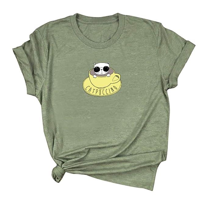 Amazon.com: Camiseta de manga corta con estampado de gatos y ...