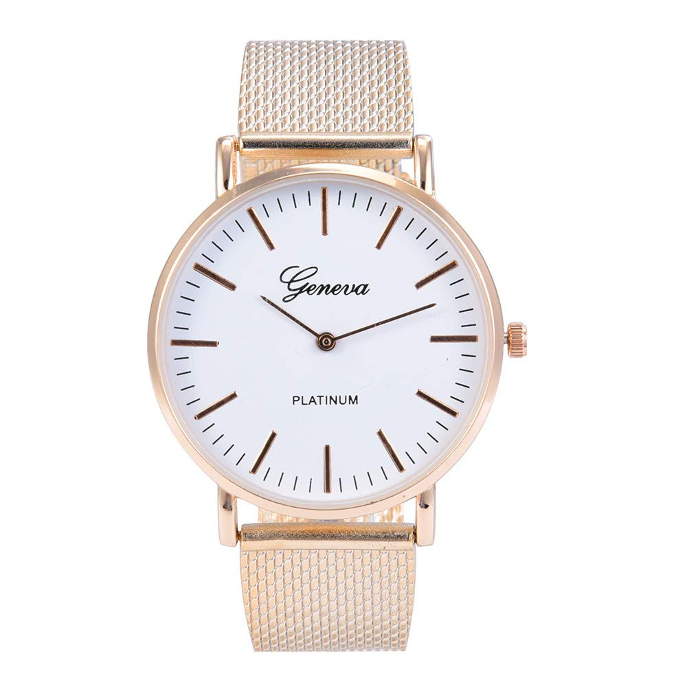 Classic Watches for Men Extra Large,Men Luxury Stainless Steel Quartz Military Sport Plastic Band Dial Wrist Watch,Rose Gold B
