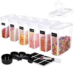 ME.FAN Medium Cereal Storage Containers [Set of 6] Airtight Food Storage Containers 2.5L(85.4oz) - Kitchen Storage Keeper with 5 Set Measuring Cups, 24 Chalkboard Labels & Pen (White)