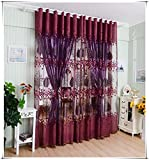 Leaf Hollow Window Screens Door Balcony Curtain Panel Sheer Cover RD