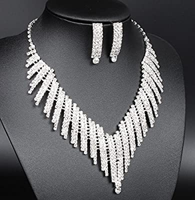FUMUD Wedding Bridal Jewelry Set Crystal Rhinestone V Shape Necklace and Earrings for Women Silver Plated
