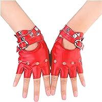 YOCIA Handschoenen voor dames, leer, punk, klinknagels, riemup of snap, halve vinger, performance wanten, PU-lederen…