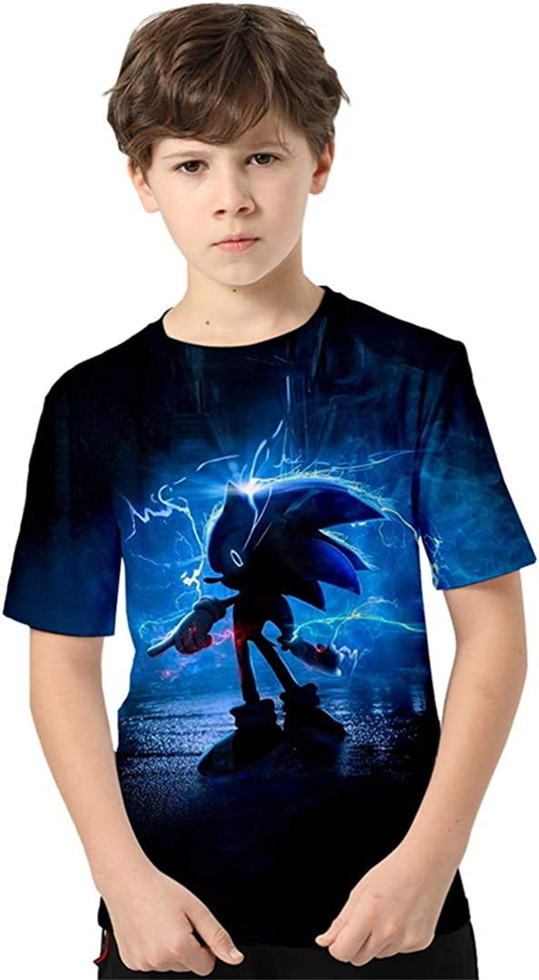 Silver Basic Boys Sportswear T-Shirt with Sonic The Hedgehog Cartoon Graphic 3D Printed Summer Top Sonic The Hedgehog Clothes for Boys and Girls