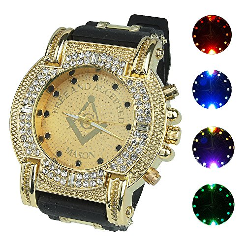 Classic Watch Band Compass (Gerosse Luminous Gold Watches for Men, Masonic Classic Men's Luxury Watch Crystal Diamond Dial Quartz Wrist Watch, Big Face Hip Hop Watch (Gold Dial))