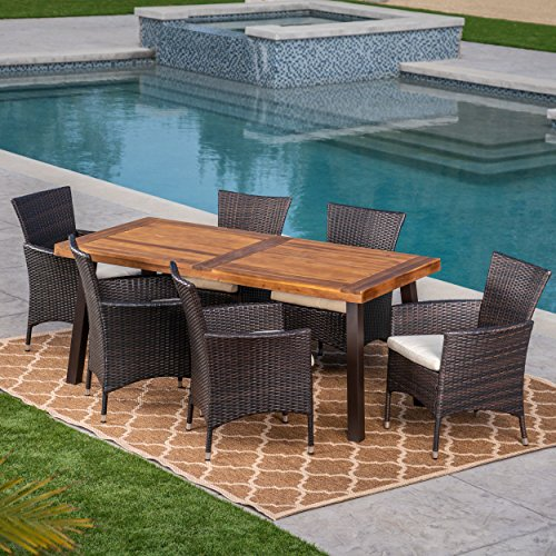 Christopher Knight Home Great Deal Furniture | Randy | Outdoor 7-Piece Acacia Wood and Wicker Dining Set with Cushions | Teak Finish | in Multibrown/Beige