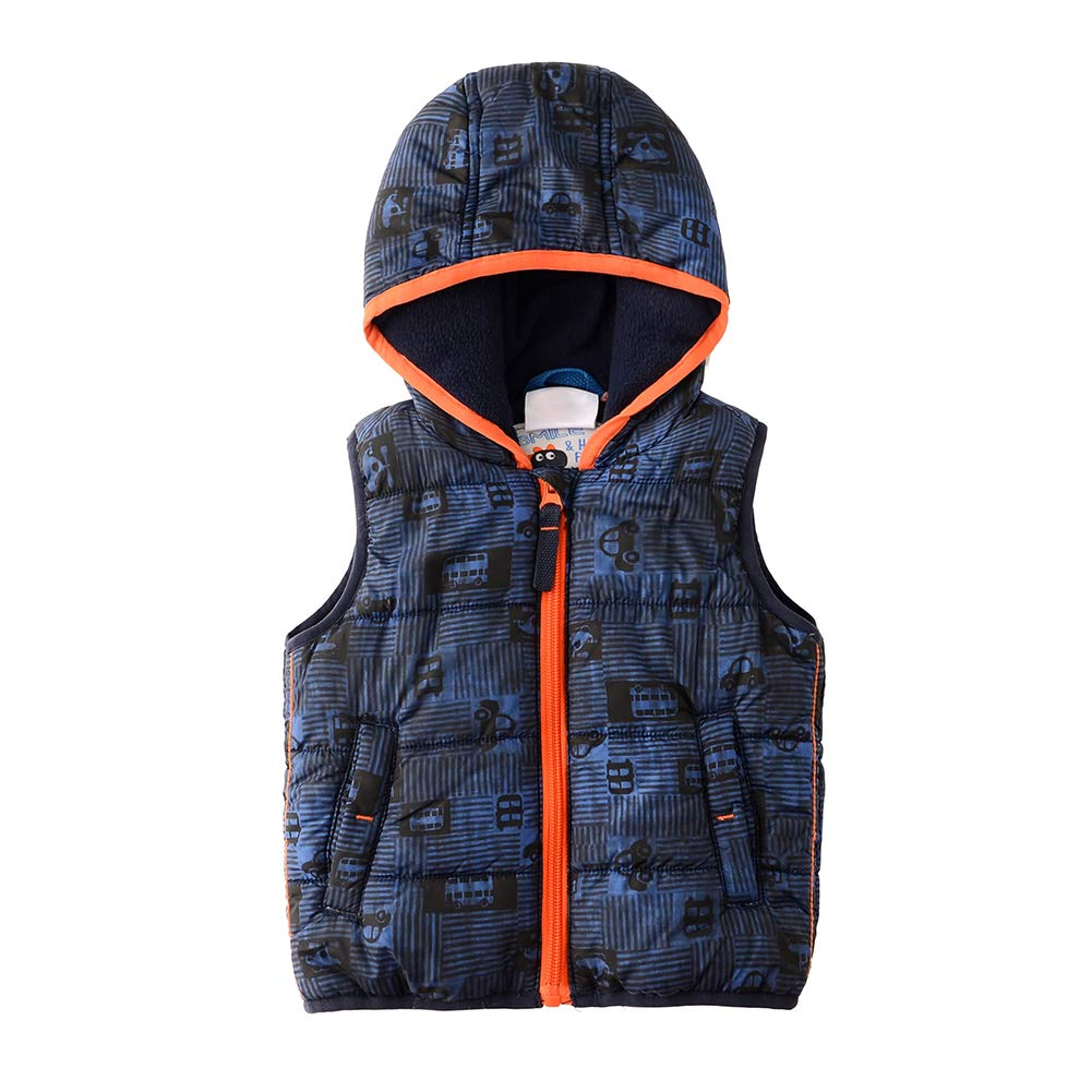 SNOW DREAMS Infant Baby Boys Hood Padded Vest Car Pattern Color-Blocked Zip Up Waistcoat N-4WB-BWK20005