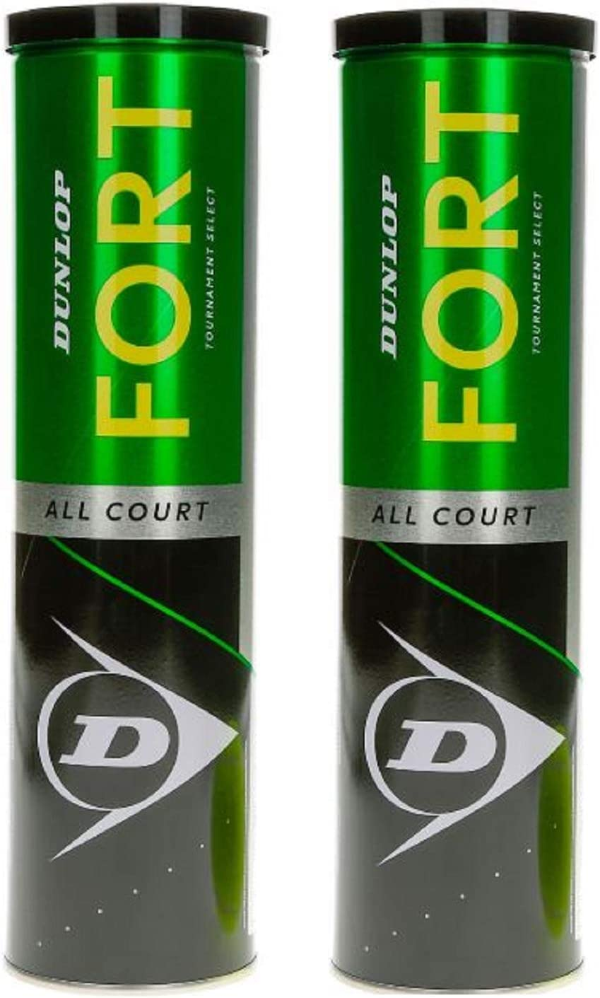 Dunlop 601357 Pelota de Tenis, Fort All Court TS - Pack de 2 Botes Metálico 2 x 4, Multicolor, Talla única