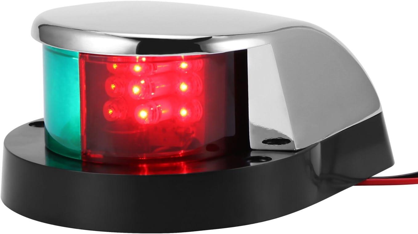 DC 12V Konesky Luces de navegaci/ón para Barcos LED L/ámpara de navegaci/ón Marine LED Starboard IP65 Impermeable Verde y roja Luz Lateral para Yates Skeeter