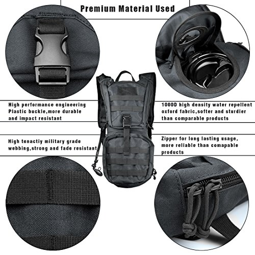 Besiva Tactical Hydration Pack Backpack 3L Water Bladder, Durable Lightweight Cycling, Hiking, Running, Climbing, Hunting More