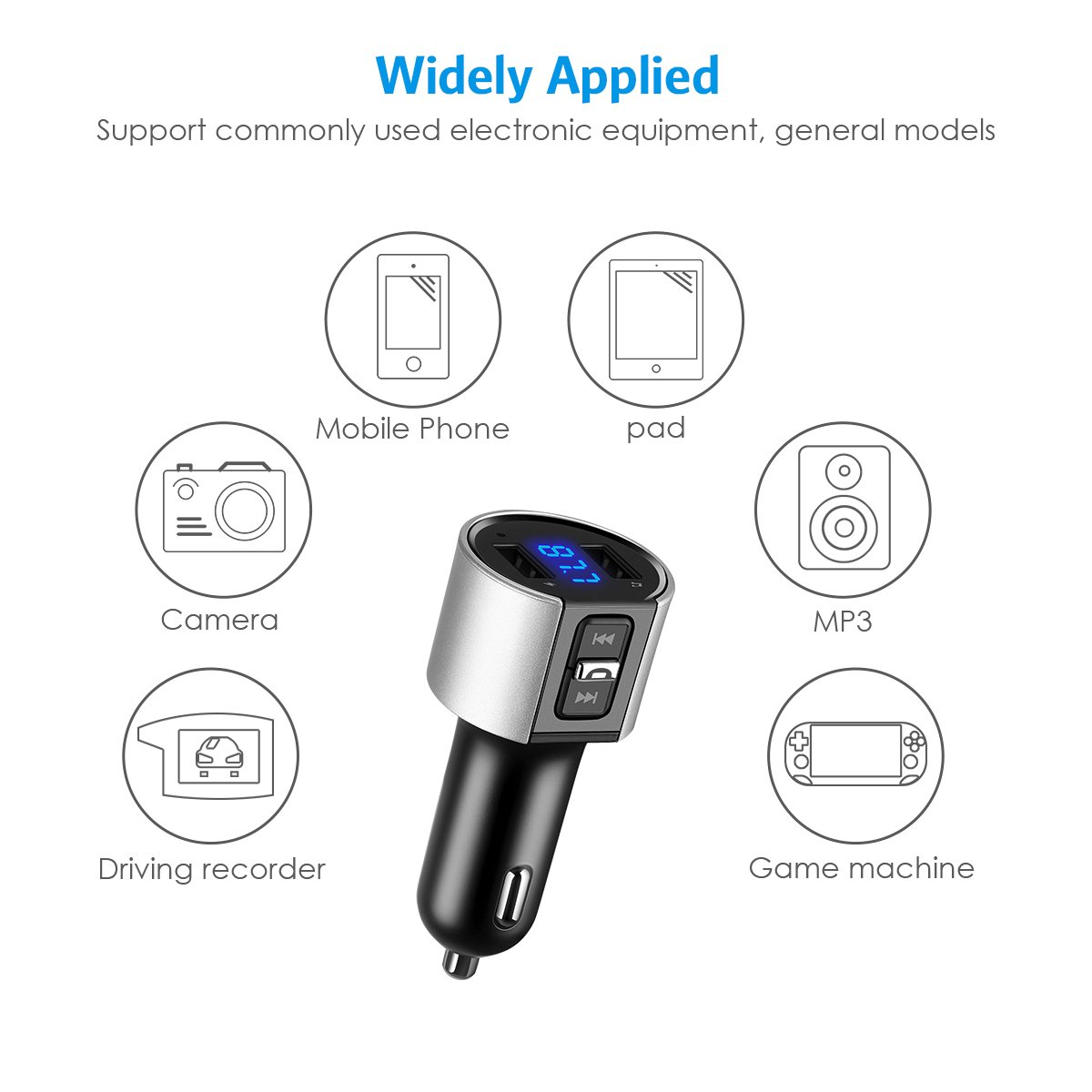 Criacr Bluetooth FM Transmitter, Wireless Bluetooth Radio Adapter Car Charger with Hands-free Calling, 5V / 3.4A Dual USB Charging Port, for iPhone Samsung, etc. (Silver) by AMIR (Image #6)