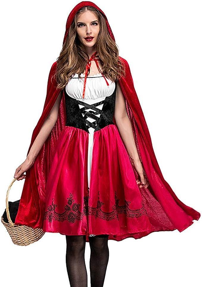 Disfraz de Halloween para Mujer Cosplay Vestido Capa con Capucha ...