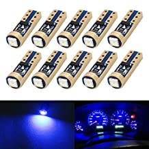 Boodled 10x Super Bright 3030 SMD T5 Canbus Error Free White / Red / Blue / Green Instrument Speedo Gauge Cluster 37 73 74 79 17 57 LED Lights bulb (10xT5-3030-1-JM) (Blue)