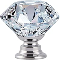 12-Pieces ProTocol 30MM Crystal Clear Glass Cabinet Dresser Knobs Diamond