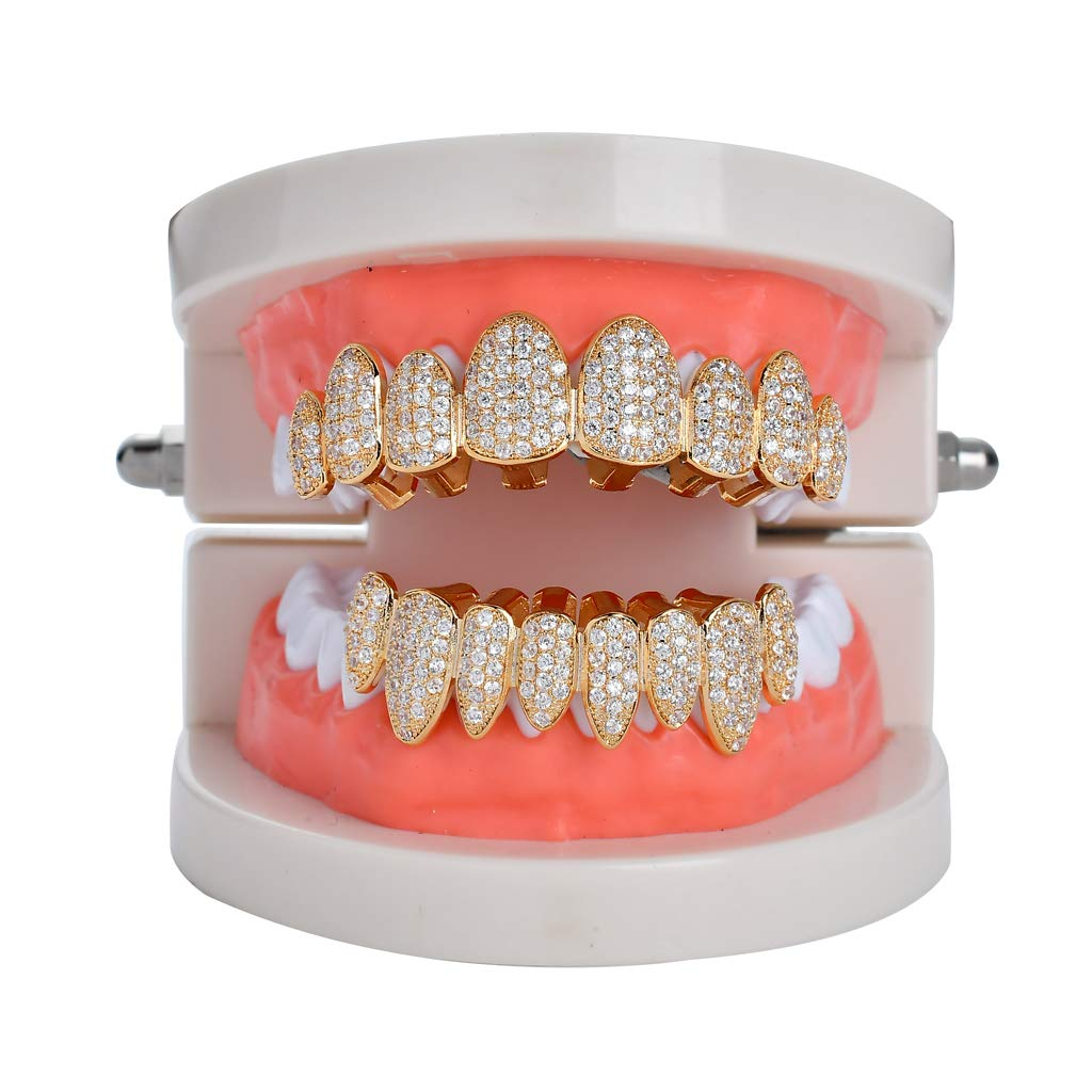 Amazon.com: TSANLY Gold Grillz Iced Out CZ Diamond - Juego ...