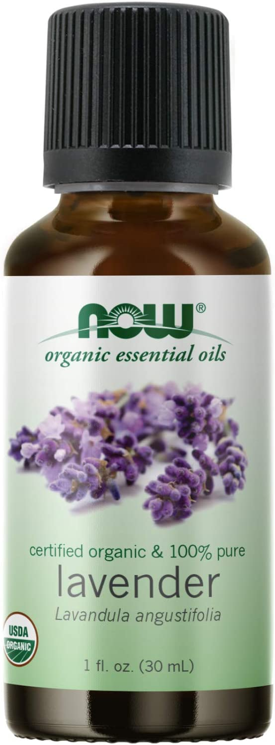 NOW Essential Oils, Organic Lavender Oil, Soothing Aromatherapy Scent, Steam Distilled, 100% Pure, Vegan, Child Resistant Cap, 1-Ounce