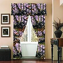 """The Woods"" Camo Curtain & Valance 5 Piece Drape Set Pink"
