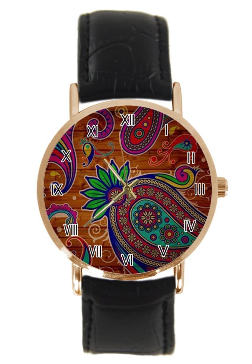 jkfgweeryhrt New Simple Fashion Colorful Flower Steel Leather Analog Quartz Sport Wrist Watch