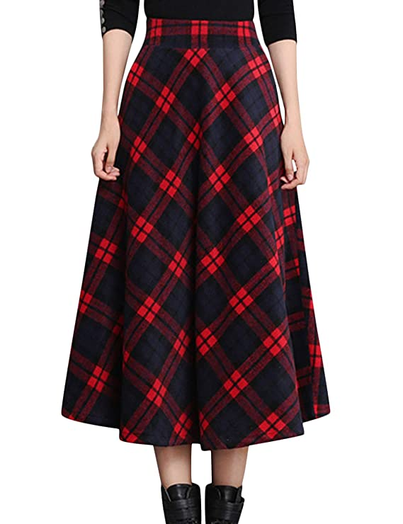 1940s Style Skirts- Vintage High Waisted Skirts Tanming Womens Winter Warm Elastic Waist Wool Plaid A-Line Pleated Long Skirt $34.99 AT vintagedancer.com