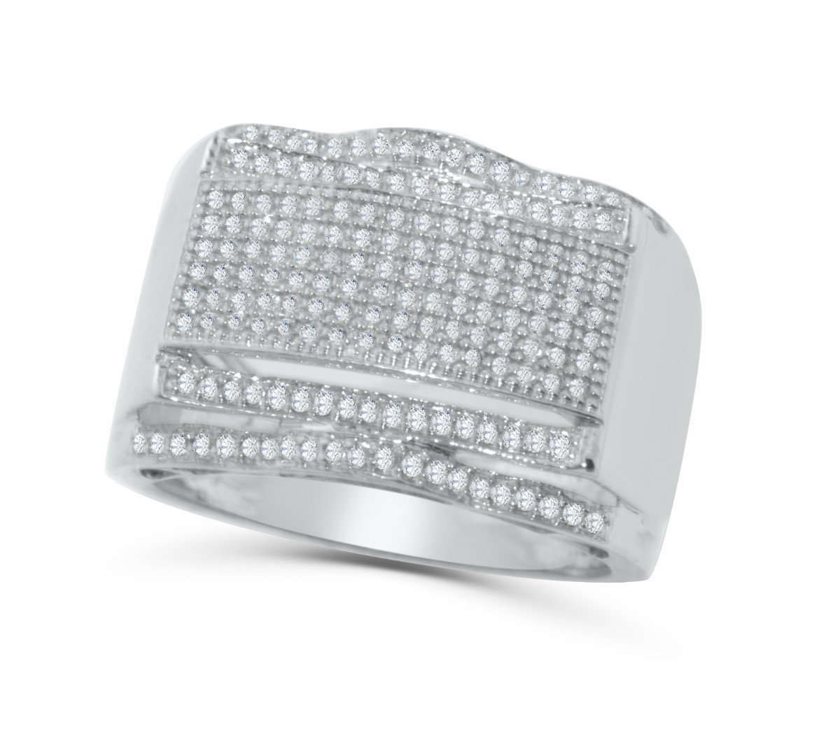 10K White Gold Diamond Ring Mens 1/2ctw Fashion Pinky or Wedding Ring 16mm Wide (i2/i3, I/j)