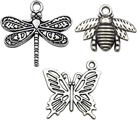 10 pc Silver bumblebee BEES lot pendant craft jewelry charms