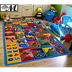 "Mybecca Kids Rug ABC-1 Numbers Children Area Rug 5'X7' - Non Skid Gel Backing (59"" x 82"")"