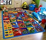 Mybecca Kids Rug ABC Numbers 8' x 11' Children's Educational Learning Rug - Non Skid Gel Backing (7'10 x 11'3)