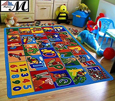 Kids Rug ABC Numbers 5' x 7' Childrens Educational Learning Rug - Non Skid Gel Backing (59