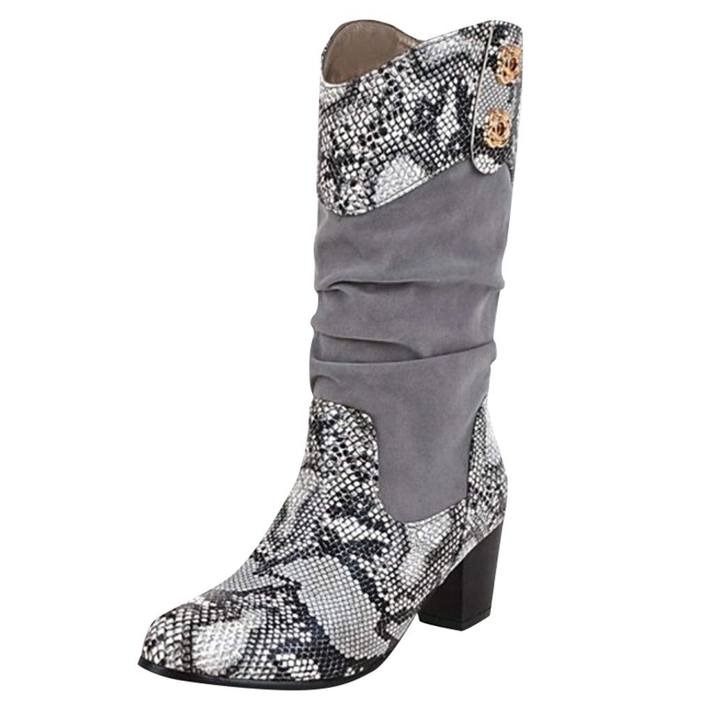 Dermanony Womens Pumps Boots Autumn Stitching Snakeskin Pattern Thick Long Boots Square Heel Slip-On Casual Boots Gray by Dermanony _Shoes