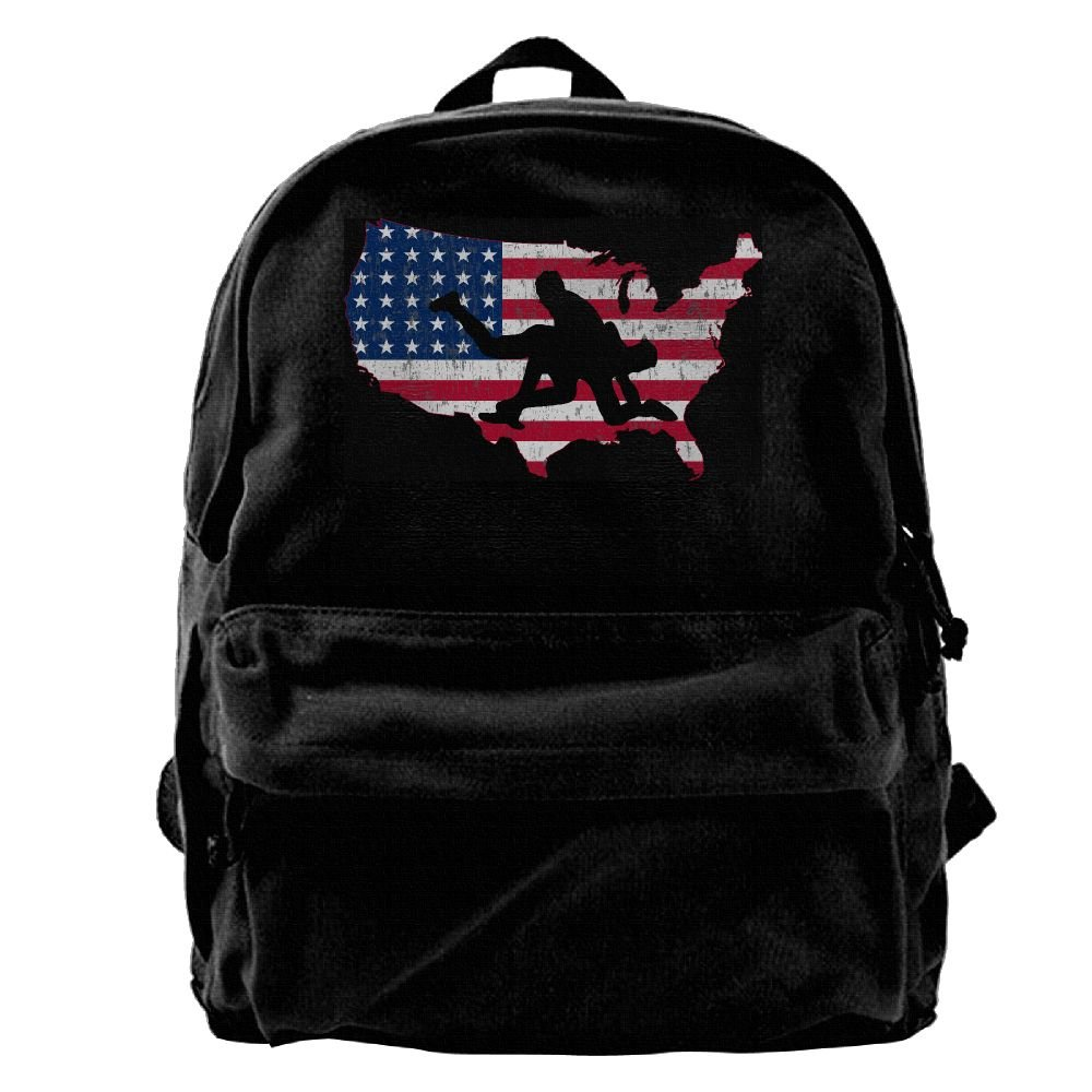 Asfbau Bnjazzp America Flag Vintage Wrestling Distressed Unisex Classic Canvas Travel Backpack Rucksack School Bags