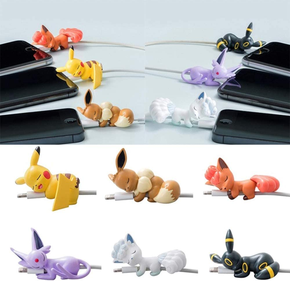 Pocket Monster Pikachu Cartoon Anime Cable Bites Protector for iPhone USB Cable - 6PCS Charger Cord Saver Pet Cable Buddy (color2)