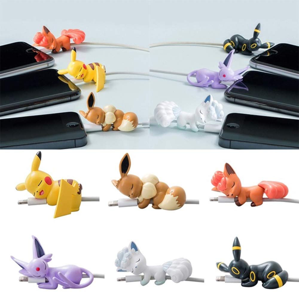Pocket Monster Pikachu Cartoon Anime Cable Bites Protector for iPhone USB Cable - 6PCS Charger Cord Saver Pet Cable Buddy (color2) by Jasenv