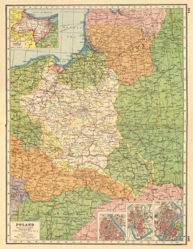 Amazon.com: POLAND. inset plans of Danzig Gdansk Warsaw ... on