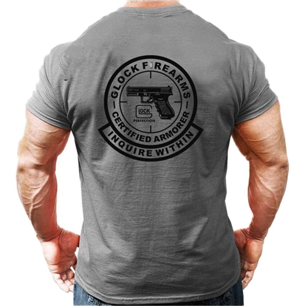 CyberDyer Glock T-Shirt /à Manches Courtes en Coton Tactique Confortable Classique pour Club dentra/înement en Plein air