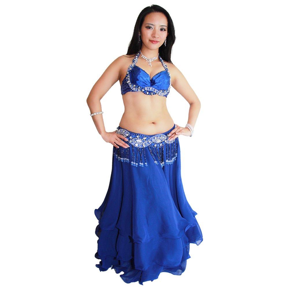 【オーブ】オリエンタルコスチューム(ブラ+ベルト)ベリーダンス 衣装 Belly Dance ステージ 舞台衣装【ガラムガラム公式】 マリンブルー