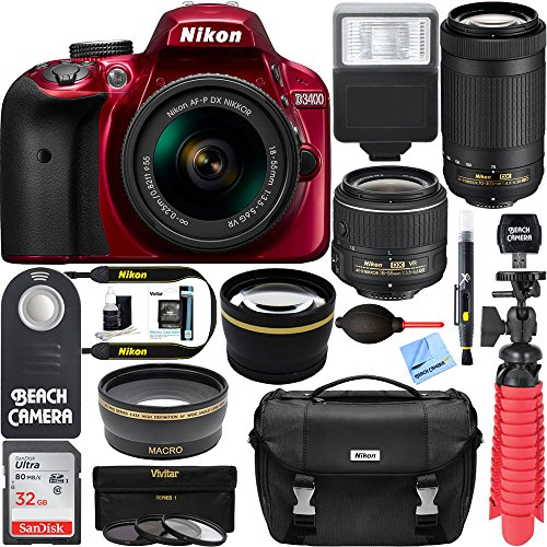 Nikon D3400 24.2 MP DSLR Camera + AF-P DX 18-55mm VR & AF-P DX 70-300mm ED Lens + Bundle 32GB SDXC Memory + Photo Bag + Wide Angle Lens + 2x Telephoto Lens + Flash + Remote +Tripod+Filters (Red)