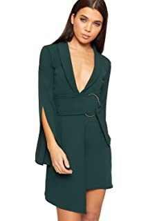 021403eb5905 WearAll - Damen Wickeln Über Mini Blazer Kleid Damen Asymmetrisch Belted  Schleife Lang Hülle Top -