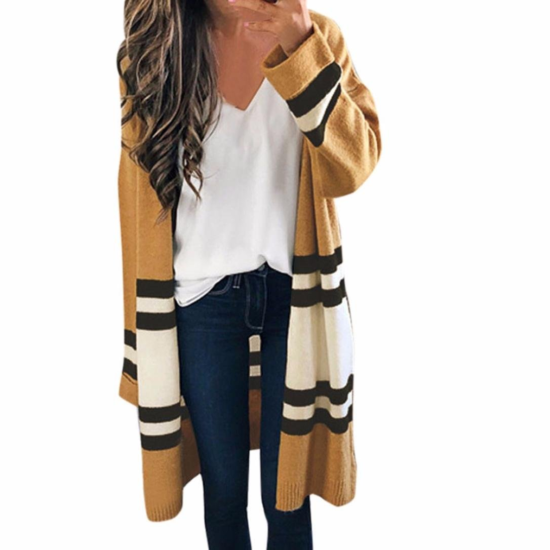 Leoy88 Women's Slim Fit Long Sleeve Striped Knitted Cardigan Sweaters Coat Outerwear (Khaki, One Size)