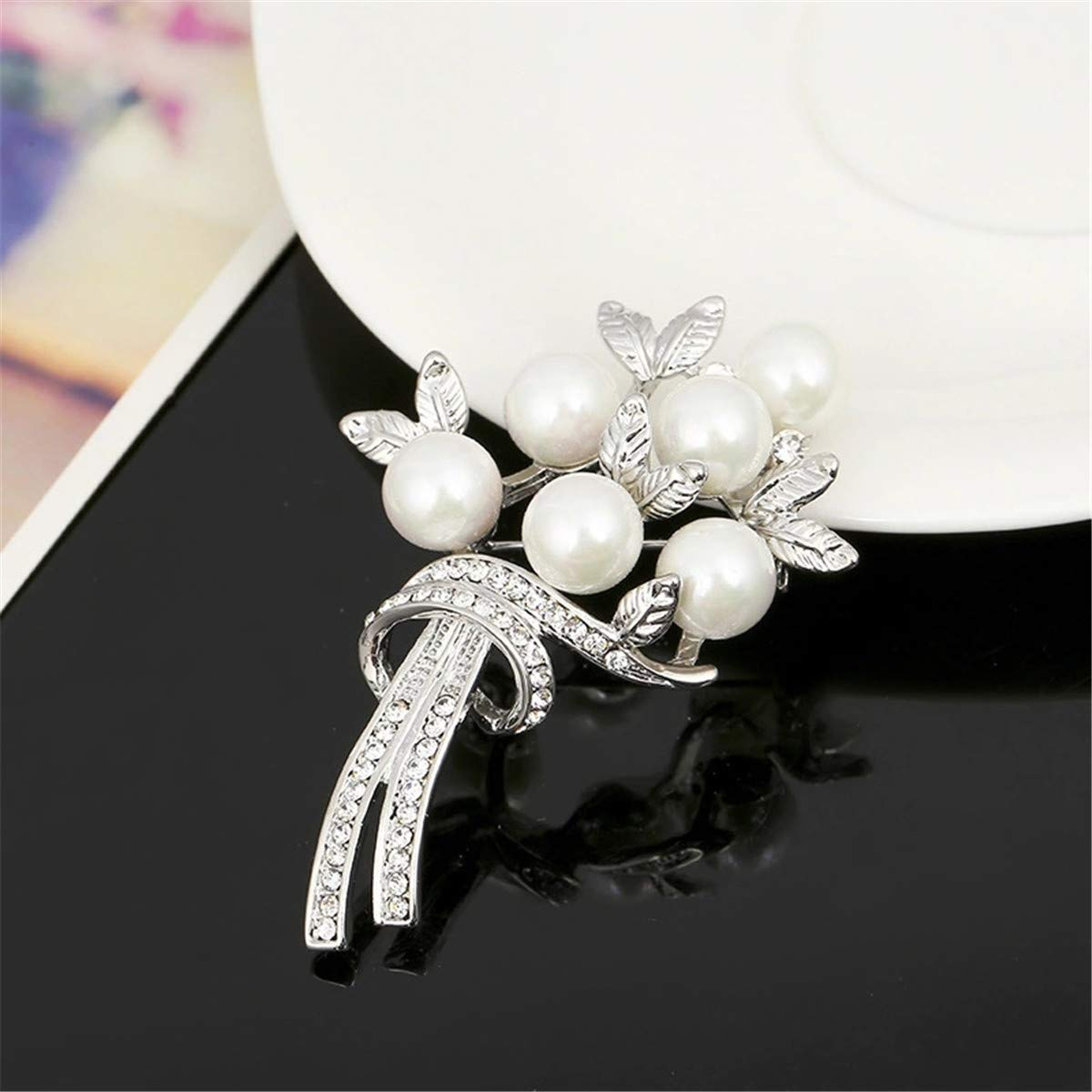 Tree Pearl Brooch Pins Mrsrui Brooches for Women with Crystal Vintage Brooch Gifts for Christmas//Daily//Birthday